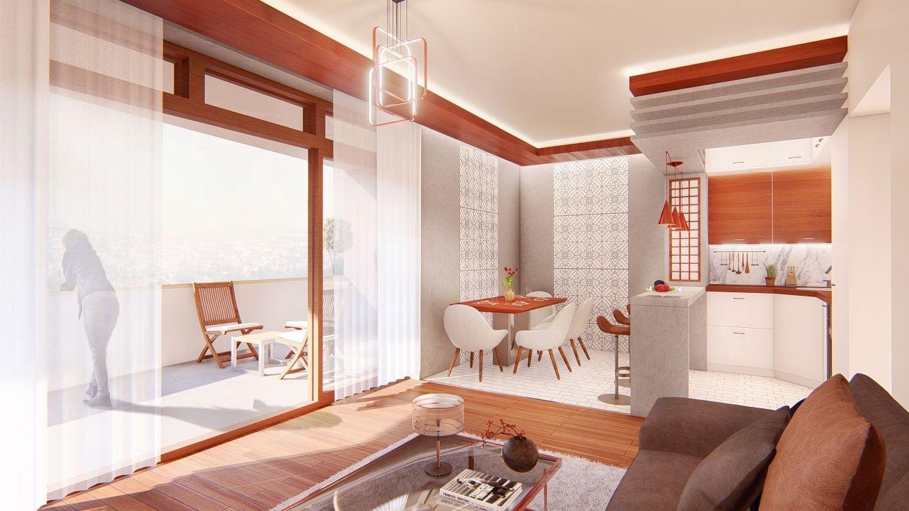Golden Corner: 1 hálószobás lakás: nappali terasszal